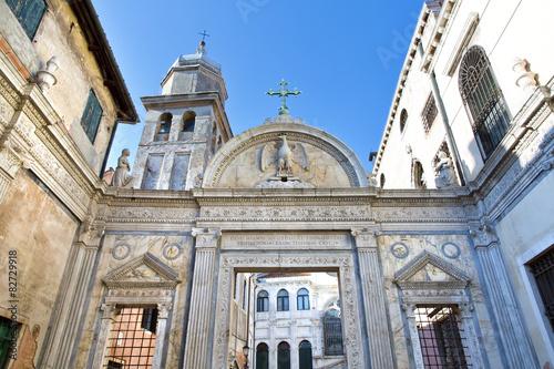 Fotografie, Obraz  Bell tower and gates to Scuola Grande San Giovanni Evangelista i