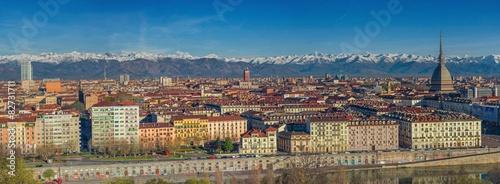 Photo  Panorama di Torino con le Alpi la Mole la Torre e il grattacielo