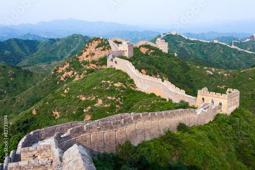Fotografie, Obraz  Velká čínská zeď pod slunci při západu slunce