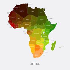 fototapeta mapa Afryka Kolorowe Państwa Kształty