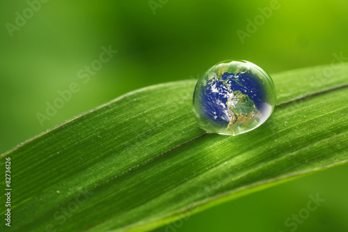 leaf with rain droplets - Recovery earth concept - 82736126