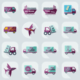 assembly icons of transport delivery set collection