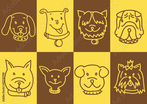 Canvas Prints Owls cartoon cut dog faces