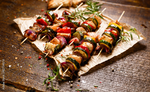 Skewers of grilled vegetables and meat