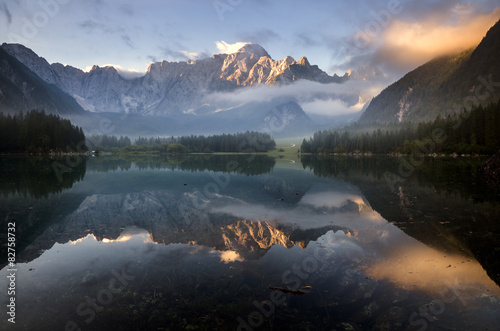 Aluminium Prints beautiful sunrise over the mountain lake in the Julian Alps