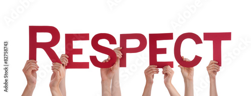 Fotografie, Obraz  People Hands Holding Red Straight Word Respect