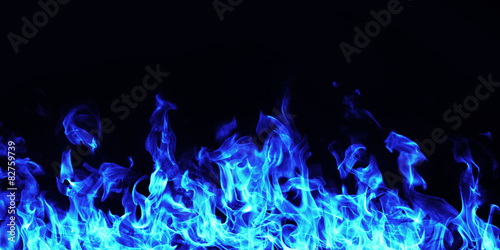 obraz lub plakat burning fire flame on black background
