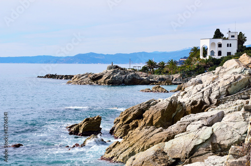 Poster Cote the coast at sea of Varazze, Italy