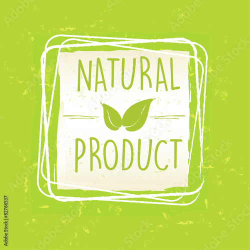Láminas  natural product with leaf sign in frame over green old paper bac