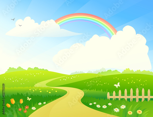 Poster Lime groen Landscape with rainbow