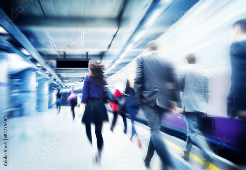 Fotomural  Business People Walking Commuter Travel Motion City Concept
