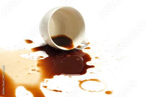 Fotografia coffee spill stain accident white background