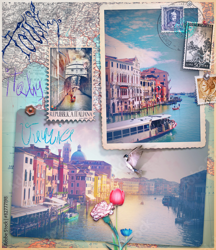 Aluminium Prints Imagination Holidays in Venice,old fashioned postcards