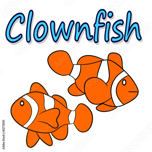 Fotografie, Tablou  Illustration of a clownfish isolated