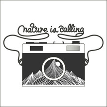 Vector Vintage Hipster Camera With Mountains