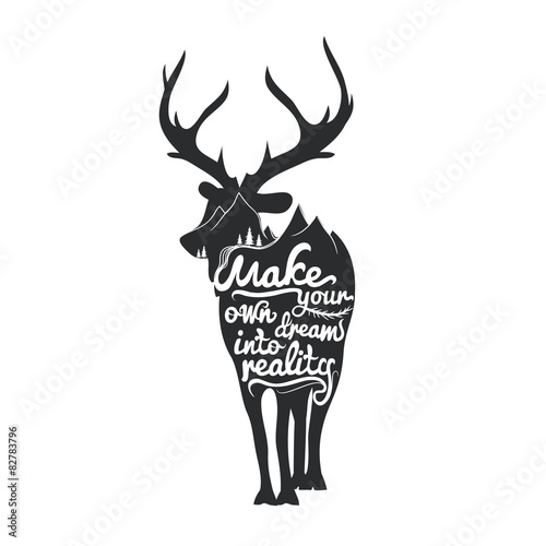 Romantic poster with deer silhouette.