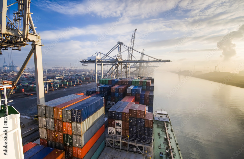 Fototapeta container operation in port of Rotterdam Europort