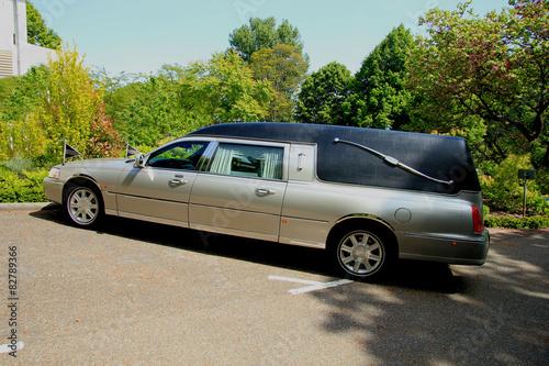 Photo  Silver grey hearse