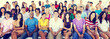 canvas print picture - Group People Crowd Audience Casual Multicolored Sitting Concept
