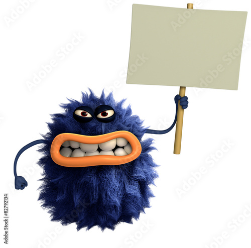 Recess Fitting Sweet Monsters blue cartoon hairy monster 3d