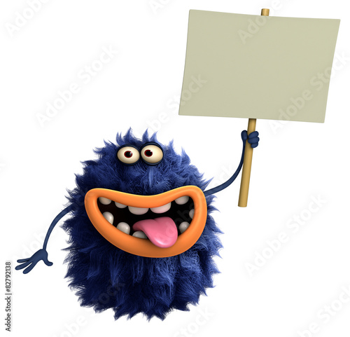 La pose en embrasure Doux monstres blue cartoon hairy monster 3d