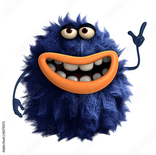 Foto op Plexiglas Sweet Monsters blue cartoon hairy monster 3d