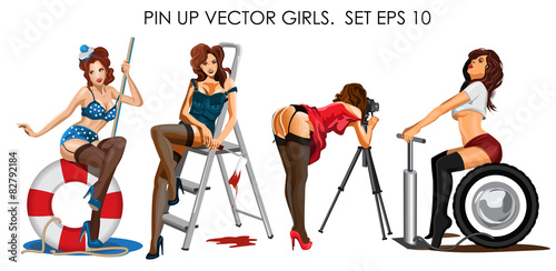 Photo  Vector collection ofpin up girls