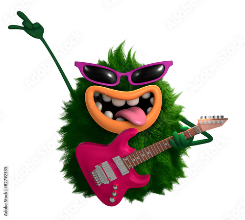 In de dag Sweet Monsters green cartoon hairy monster 3d