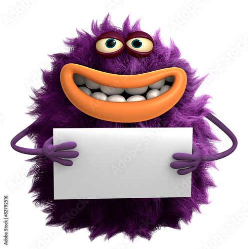 Poster Sweet Monsters purple cartoon hairy monster 3d