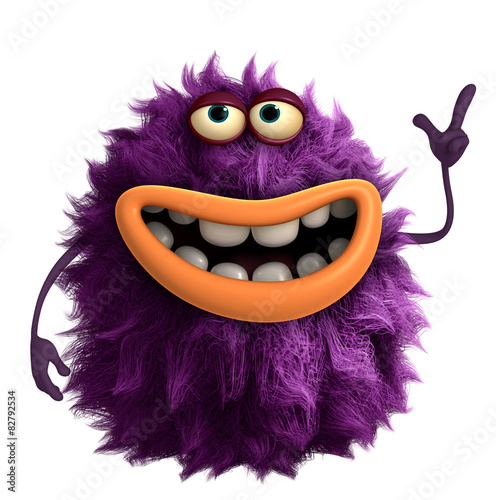 Poster de jardin Doux monstres purple cartoon hairy monster 3d