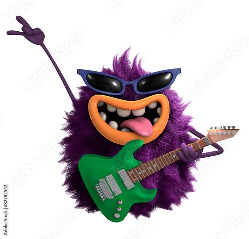 Printed kitchen splashbacks Sweet Monsters purple cartoon hairy monster 3d