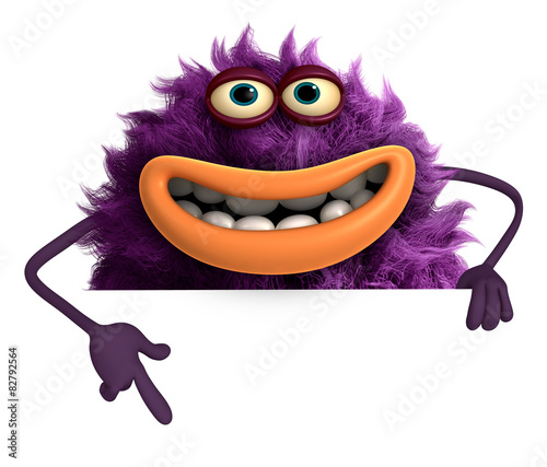 In de dag Sweet Monsters purple cartoon hairy monster 3d
