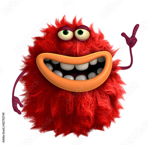 Keuken foto achterwand Sweet Monsters red cartoon hairy monster 3d