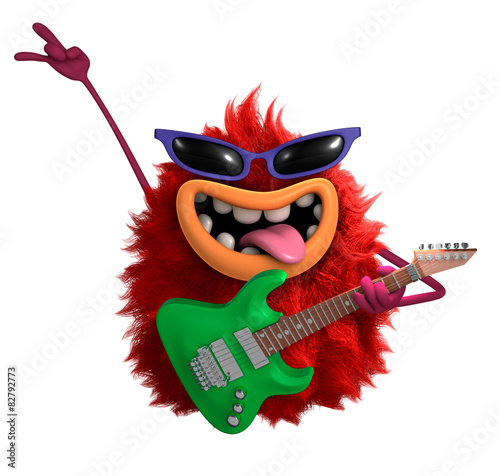 Foto op Plexiglas Sweet Monsters red cartoon hairy monster 3d