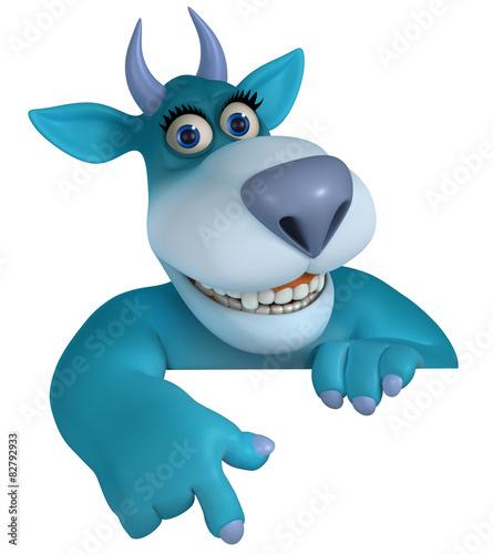 Keuken foto achterwand Sweet Monsters blue cartoon monster 3d