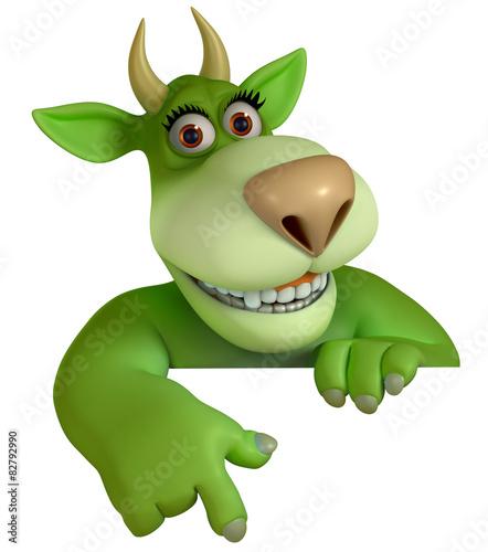 Keuken foto achterwand Sweet Monsters green cartoon monster 3d