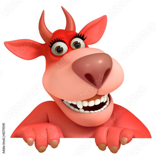 Keuken foto achterwand Sweet Monsters red cartoon monster 3d