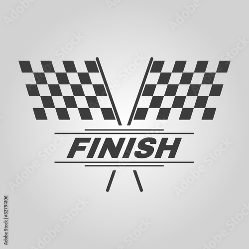 Fotografiet  The race flag icon. Finish symbol. Flat