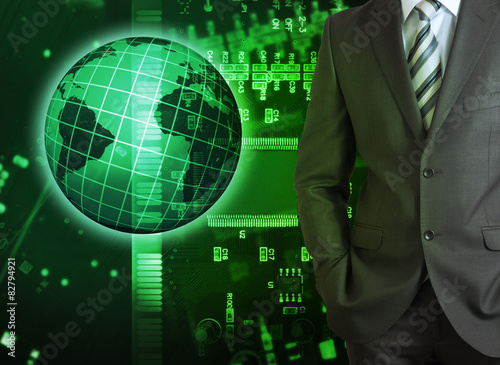 In de dag Opspattend water Businessman on abstract green background