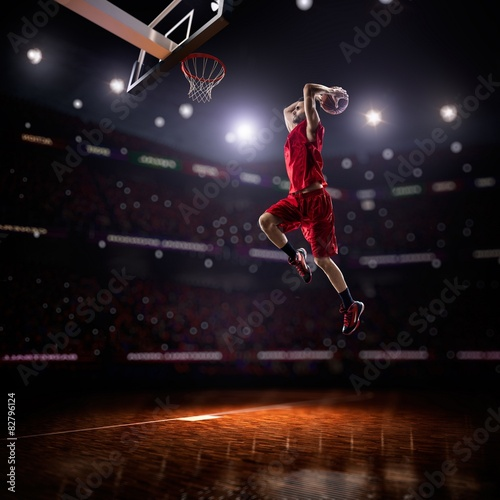 red Basketball player in action Canvas Print