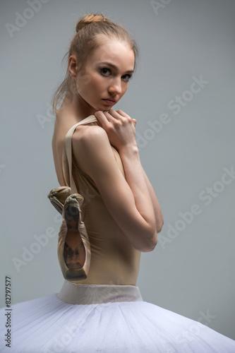 Portrait of young ballerina in white tutu Plakát