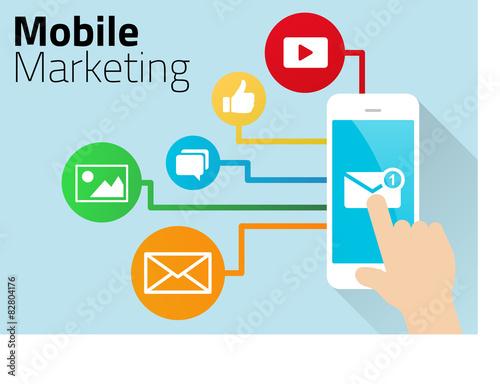 Fotografie, Obraz  Mobile Marketing Design with Smart Phone