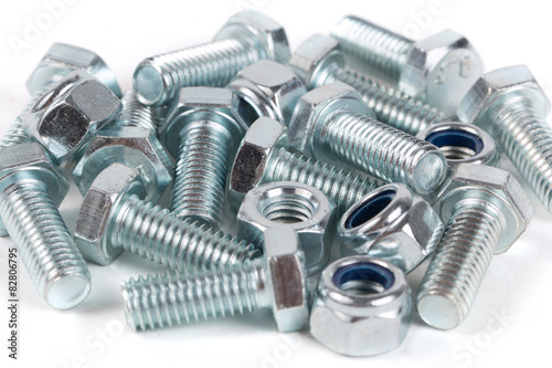 Bolts (screw) and nuts background