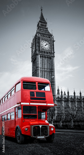 Fotobehang Londen rode bus London bus und Big Ben