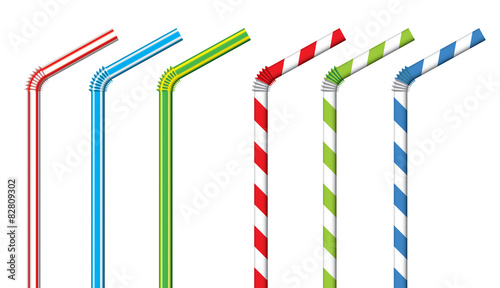 Photo Colorful drinking straws, vector set