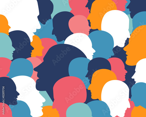 Fototapety, obrazy: People profile heads. Vector background pattern.