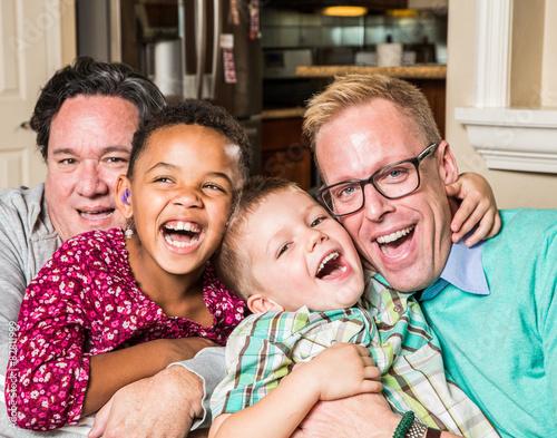 Fotografie, Obraz  Gay parents with their children