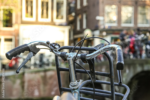 Close-up of bicycle in Amsterdam Canvas Print