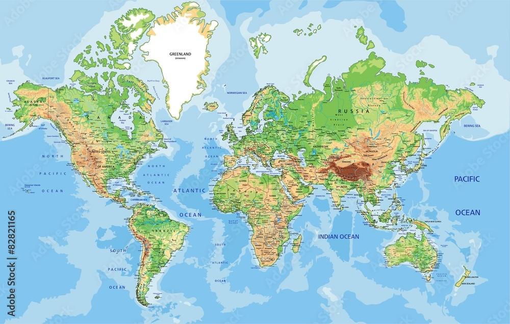 Hochdetaillierte Physikalische Weltkarte Mit Beschriftung Foto