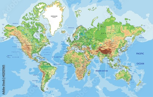 Highly detailed physical World map with labeling. – kaufen ...